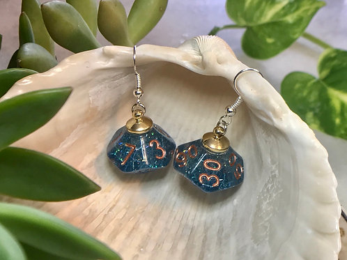 Blue Confetti - Handmade Dice Earrings