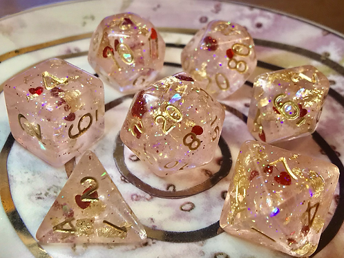 Glow Pink with Red Hearts- 7pc dice Set