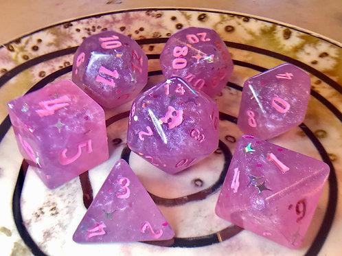 Pink and Purple starbursts- 7pc dice set