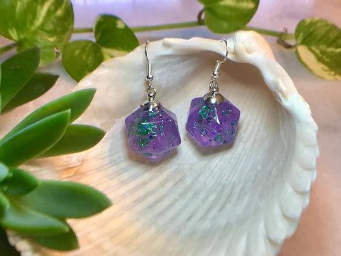 Purple with green bats- Handmade Dice Earrings