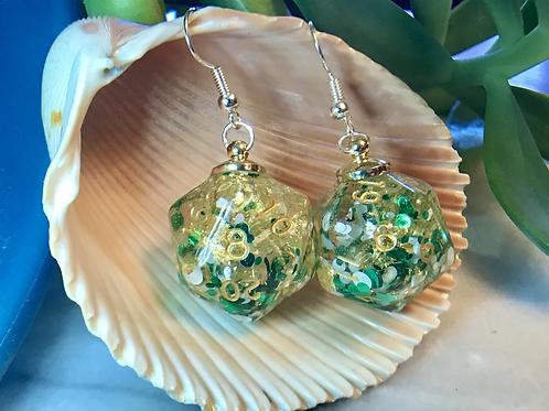 Shamrocks and Gold d20- Handmade Dice Earrings