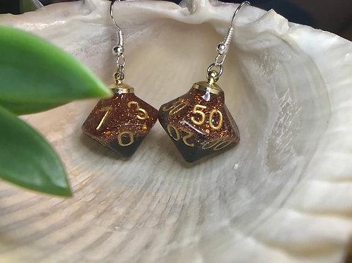 Black and Orange- Handmade Dice Earrings