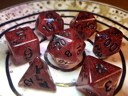 Red with Bats- 7pc Dice Set