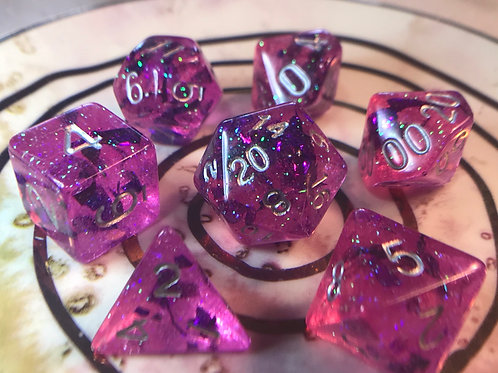 Pink and purple shards- 7pc Dice Set