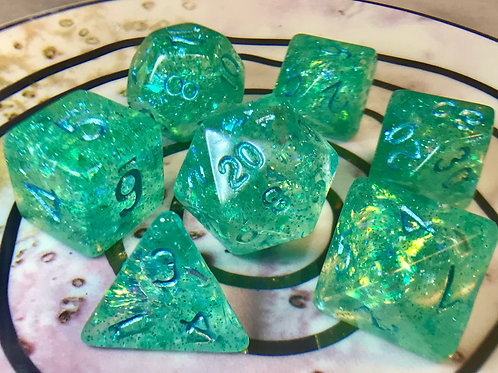 Iridescent Green blue ink- 7pc dice set