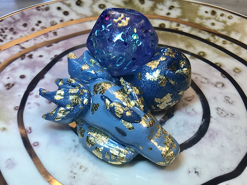 Blue/Light Blue/Gold- Sleepy Dice Dragon