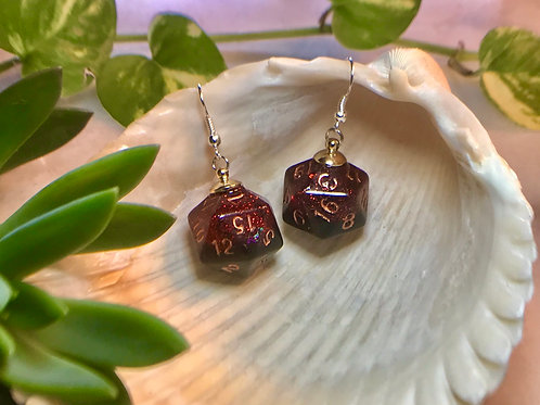Red and Black bats-Handmade Dice Earrings
