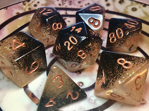 Glow Orange and black bats- 7pc Dice Set