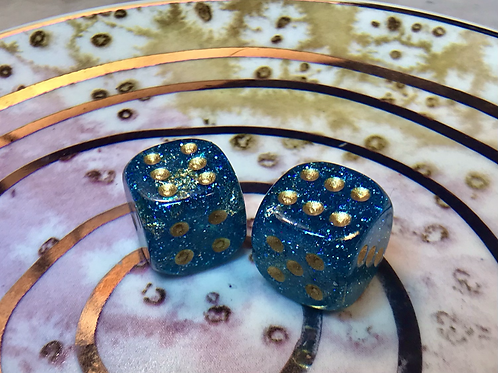 Blue/gold foil- Set of (2) 12mm d6