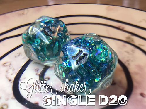 Glitter Shaker d20 - Blue and Green shards Single d20