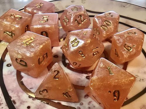 Orange/Pink with Gold Foil- 10 pc dice set