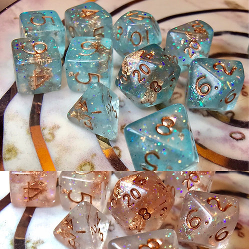 Thermal Teal and copper- Mini 10pc Dice Set