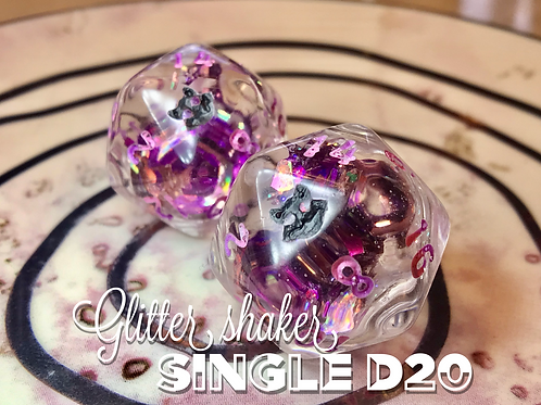 Glitter Shaker d20 - Pink and Purple shards Single d20