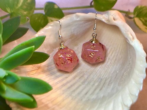 Glow pink with red bats- Handmade Dice Earrings