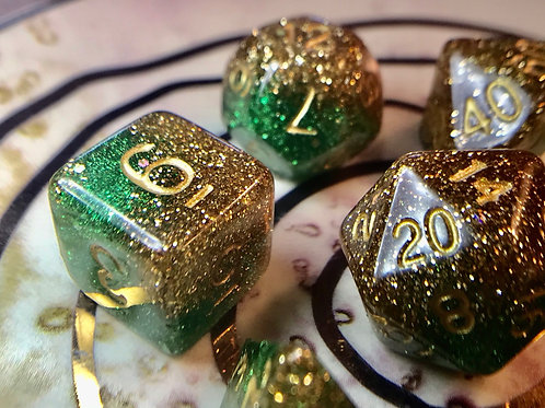 Gold and green 7pc Dice Set