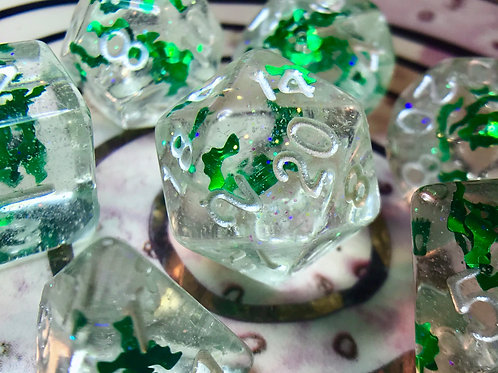 Sparkly clear with Green Bats - 7pc Dice Set