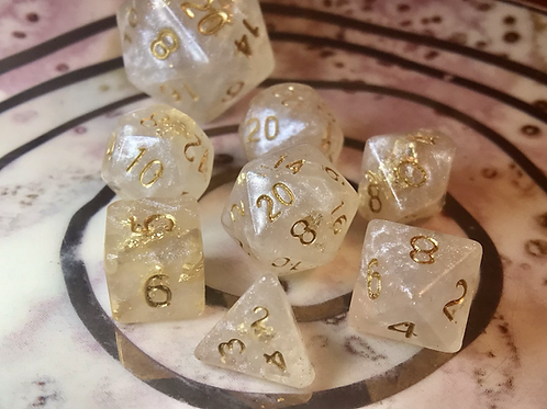 Pearl and Gold- Mini 7pc Dice Set