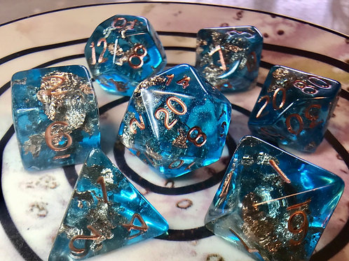 Blue and Copper 7pc Dice Set