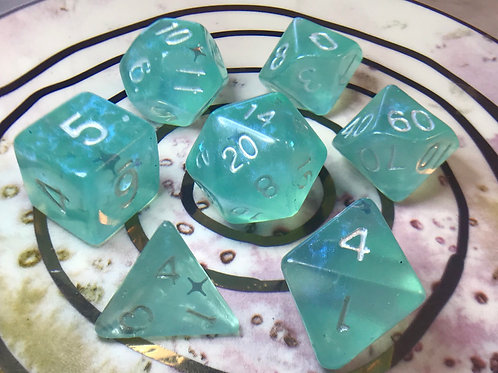 Light Blue/Teal Starbursts - 7pc dice set