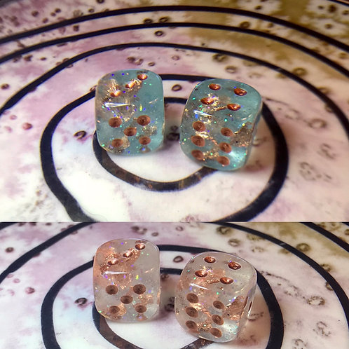 Thermal Teal and copper- set of (2) 12mm d6