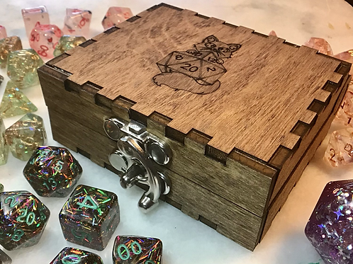 Dice Box- wooden egraved Deathwish Dice logo