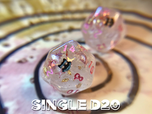 Pearl and Gold w/ Pink Starbursts- Single d20