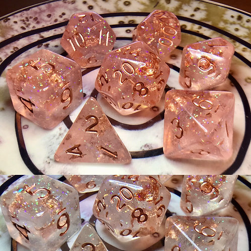 Thermal color changing pink/white- 7pc Dice Set