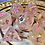 Thumbnail: Pearl and Gold w/ pink starbursts- 7pc dice set