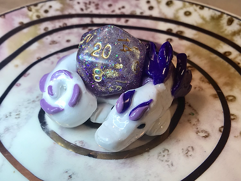 Sleepy Dice Dragon- white/purple