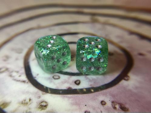 Green Starbursts- Set of (2) 12mm d6