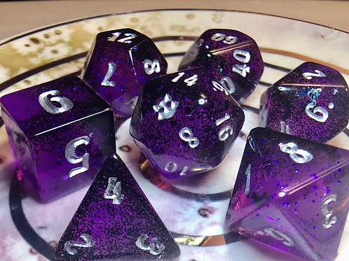 Black/Purple Bats - 7pc dice set