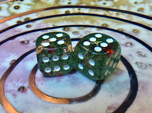 Green/red shards/gold- Set of (2) 12mm d6
