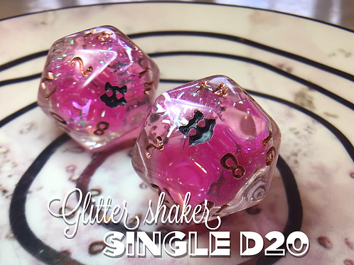 Glitter Shaker d20 - Pink Starbursts Single d20