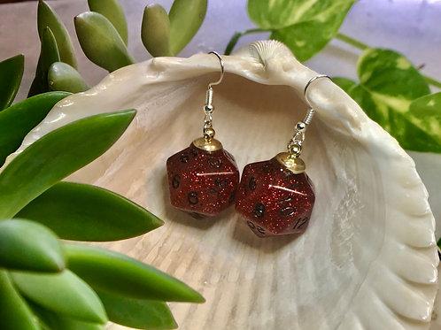 Red/black w/bats- Handmade Dice Earrings