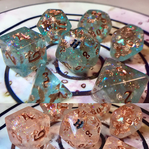 Thermal teal and copper- 7pc dice set