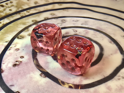 Red Swirl with Red and Black Bats- Set of (2) 12mm d6