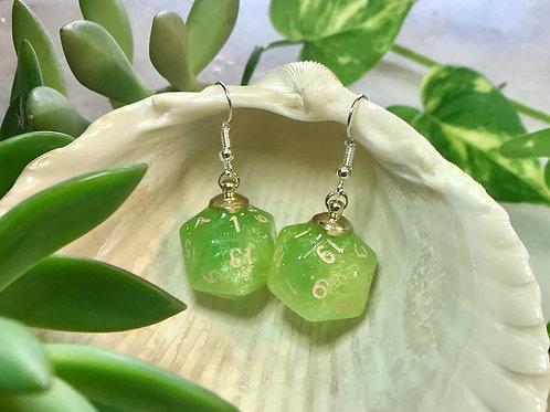 Green and tan- Handmade Dice Earrings