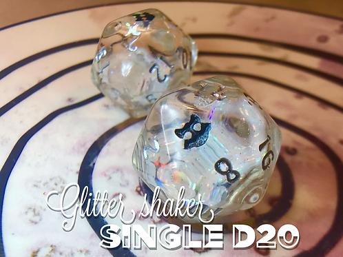 Glitter Shaker d20 - Plain w/ Starbursts Single d20