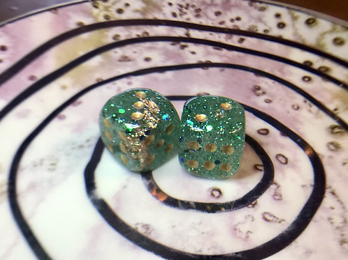 Green and gold foil -set of (2) 12mm d6
