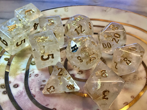 Pearl and Gold- 10 pc dice set