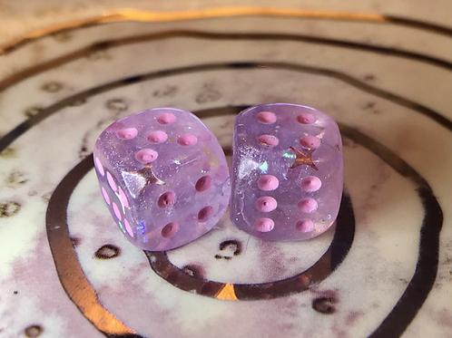 Pink/purple starbursts- Set of (2) 12mm d6