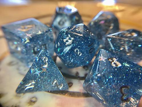Blue Starbursts- 7pc dice set
