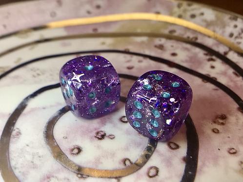 Purple starbursts/ blue ink -Set of (2) 12mm d6