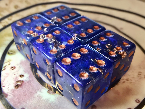 Deep Blue and copper- d6 pip dice- 6pc set