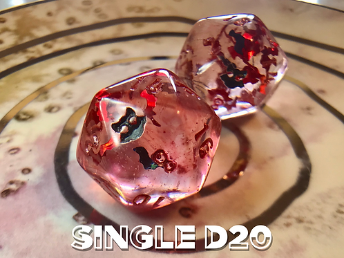Red Swirl with red and black bats - Single d20