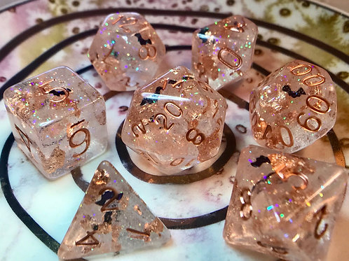 Copper foil and bats- 7pc Dice Set