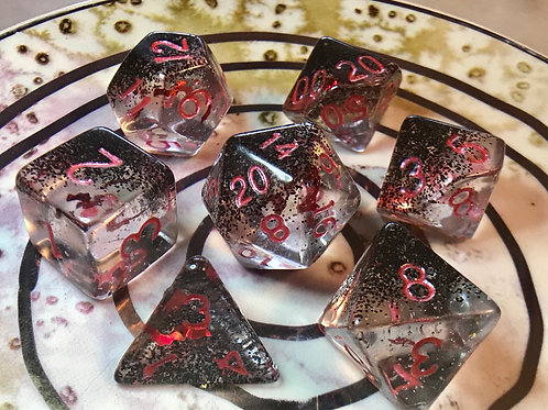 Nightfall red bats- 7pc Dice Set