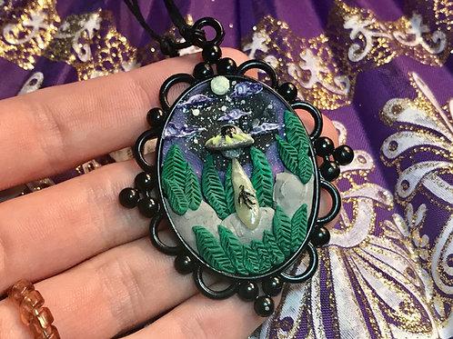 UFO Alien Abduction Pendant Necklace