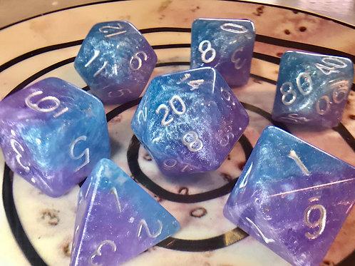 Pastel purple/blue starbursts 7pc Dice Set