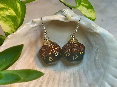 Embers and ashes- Handmade Dice Earrings